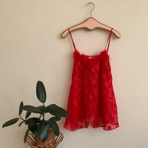 VTG Red marabou trimmed Open heart print cami top